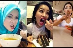 Girls eating with lipstick - How to eat food with lipstick - Funny face eating with lipstick