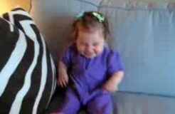 Baby Laughing Pushing Grandpa Off Couch