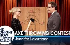Jennifer Lawrence Challenges Jimmy to an Axe Throwing Contest